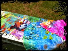 Gelli Printing in Hawaii!! On fabric.