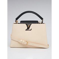 Pre-owned Louis Vuitton Black/Cream Taurillon Leather Capucines PM Bag (179,960 PHP) ❤ liked on Polyvore featuring bags, handbags, leather purses, monogrammed leather purse, monogrammed handbags, louis vuitton purse and cream leather handbags