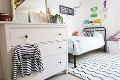 The Twinkle Diaries twin bedroom makeover — monochrome kids bedroom decor Pine Bedroom, Bedroom Decor, Bedroom Ideas, Cloud Shelves, Pine Wardrobe, Old Room, Room To Grow, Cot Bedding, New Beds