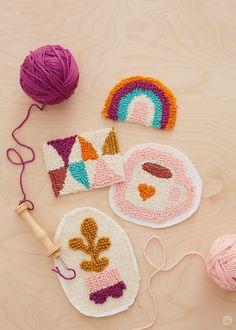 Finished punch needle patches | thinkmakeshareblog.com