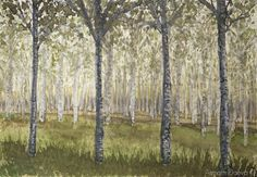 Birches trees painting, trees painting, birch forest, woodland landscape…