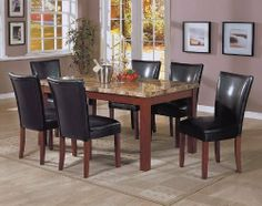 "7pc Marble Top Dining Table & 6 Black Parson Chairs Set by Coaster Home Furnishings. $999.09. Dining and Kitchen->Dining Room Sets->Parsons. 7pc Marble Top Dining Table & 6 Black Parson Chairs. Some assembly may be required. Please see product details.. Dining and Kitchen. 7pc Marble Top Dining Table & 6 Black Parson Chairs Set  You will receive a total of a 1 dining table and 6 parson chairs. Dining Table: 64""L x 38""W x 31""H Chair: 19""L x 23.5""W x 38""H Finish: Medium Brown ..."