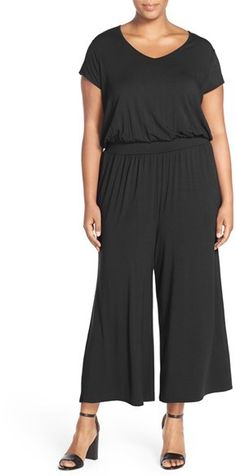 Sejour Short Sleeve Jersey Crop Wide Leg Jumpsuit (Plus Size) -- You can get more details by clicking on the image.