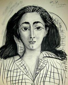 Pablo Picasso - Portrait of Jacqueline. Kunst Picasso, Art Picasso, Picasso Paintings, Pablo Picasso Drawings, Georges Braque, Spanish Painters, Famous Artists, Oeuvre D'art, Female Art