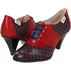 "These are so fun!  // Bass ""Lady"" saddle shoes in navy/red polka dots"