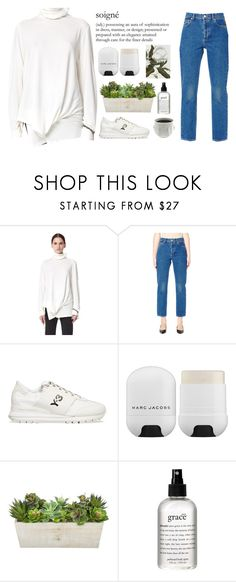 """""""Untitled #2047"""" by credendovides ❤ liked on Polyvore featuring Ann Demeulemeester, Balenciaga, Y-3, Marc Jacobs, philosophy and Jonathan Adler"""