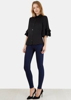 Black French Sleeve High Collar Blouse