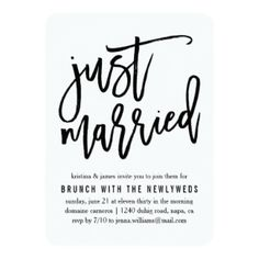 Cute invite to use for inviting guests to share a casual brunch with the newlyweds the day after the wedding.  Just Married!