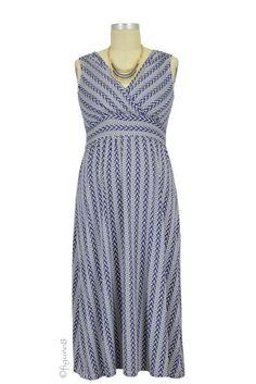 Cora Chevron Nursing Dress in Navy Print
