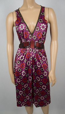 A COMMON THREAD Anthropologie Silk Dress M Multi Color Geometric Belted Stretch
