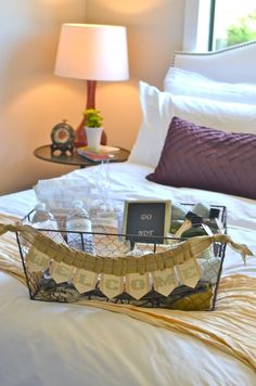 Guest room with welcome basket....