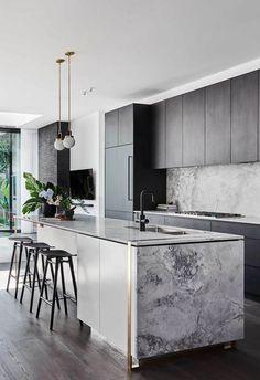 Luxury Kitchen Design, Interior Design Kitchen, Interior Ideas, Interior Decorating, Home Interior, Interior Architecture, Modern Farmhouse Kitchens, Cool Kitchens, Kitchen Modern