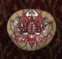 Hand Painted Buddha Lotus Stone