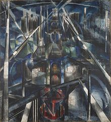 Joseph Stella, 1919-20, Brooklyn Bridge, huile sur toile, 215.3 x 194.6 cm, Yale University Art Gallery.