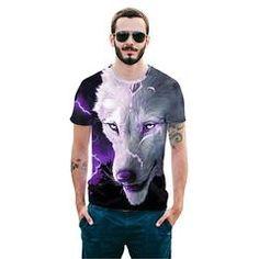 Cool T-shirt T-shirt Print Tibetan Wolf Short Sleeve Summer Tops Tees Tshirt Fashion Animal Print Shirt 3d T Shirts, Cool T Shirts, Animal Print Shirts, Shirt Print, Online Shopping Usa, Store Online, Shopping Sites, Summer Tshirts, Summer Tops