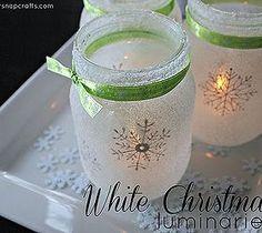 Snow Flake Mason Jars. Put a tea light inside for cosy light.