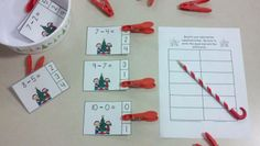 Christmas Kids Subtraction Math Centers (Minuends to 10)  $  http://www.teacherspayteachers.com/Product/Christmas-Kids-Subtraction-Math-Centers-Minuends-to-10-997334