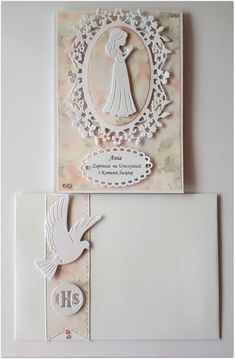 Wedding Cards, Wedding Invitations, Baby Frame, First Holy Communion, Button Crafts, Kirigami, Sympathy Cards, Greeting Cards Handmade, Certificate
