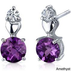 Oravo Sterling Silver Round-cut Gemstone Stud Earrings (Alexandrite), Women's, Size: Small, Purple