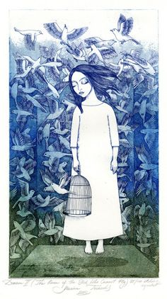 """Dream II"" - Etching by Marina Terauds http://www.marinaterauds.com/ - Collection: Burnell Yow! & Betsy Alexander."
