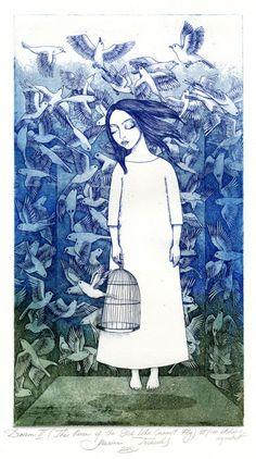 """Dream II"" - Etching by Marina Terauds Flower Illustrations, Art And Illustration, Illustrations Posters, Whimsical Art, Gravure, Bird Art, Pretty Pictures, Printmaking, Illustrators"