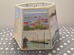 Nantucket Lampshade,  Lamp Shade Vintage Postcards of Nantucket Island Scenes - Nautical Decor - Guy Gift - 7x10x7 clip by lampshadelady on Etsy https://www.etsy.com/listing/213455815/nantucket-lampshade-lamp-shade-vintage