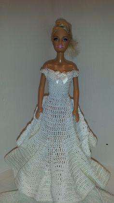 Handmade Barbie Gown, Crochet Barbie Fashion Cotton Gown by GrandmasGalleria on Etsy