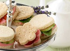 Strawberry Tea Sandwiches - Celebrate the fresh flavors of spring with these sweet-shaped, mini sandwiches. Perfect for brunch, lunch or a garden tea party, these tiny bites are big on flavor. Sandwich Fillings, Sandwich Recipes, Appetizer Recipes, Appetizers, Sandwich Ideas, Tea Party Sandwiches, Finger Sandwiches, Strawberry Tea, Afternoon Tea Parties