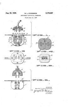 Patent US2170287 - Detachable electrical connector - Aug 22, 1939