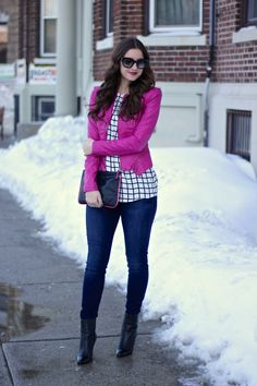 Magenta Pink LEather Jacket over Windowpane Blouse