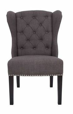 Rugs USA Chairs Sumehra upholstered Accent Wing Chair Dark Grey