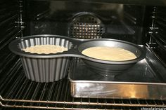 top of the cupcake bakes faster than the bottom because its smaller and theres less batter put another pan half filled with water under the lid