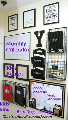 One Creative Housewife: Command Center Update—-I've been working on something … – office organization at work cubicle Organization Station, School Organization, Storage Organization, Family Organization Wall, Storage Ideas, Bathroom Organization, Organizing Ideas, Office Storage, Storage Shelves