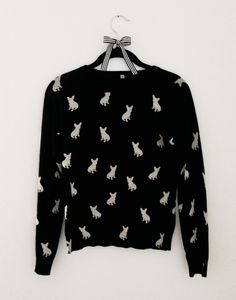 Do you love it? French+Bulldog+Sweater++Black+with+White+Frenchies+by+MissPiggyUSA,+$30.00