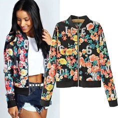 Autumn 2014 Fashion Long Sleeve Zipper Letter Floral Print Jacket Coat Outwear for Women Sports Sale Now only $15.90