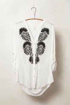 Anthropologie Avani Buttondown Size M White Top Blouse w/Black Emboidery By Tiny #Tiny #ButtonDownShirt #Career