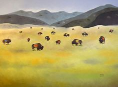 """Arturo Garcia, """"Where the Buffalo Roam,"""" oil on canvas, 36 x 48 in – Outnumbered Gallery"""