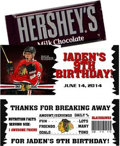 QTPIEWRAPPERS, Designer of custom Sports Tickets Invitations and Candy Bar Wrappers  Make your special event memorable with these NHL Hockey Candy Bar Wrappers that your guests will surely love! I can change the wording to fit any event such as birthdays, bar mitzvahs, baby showers, weddings, save the dates, bridal showers, anniversarys and so much more. Very simple and cost effective. I design and you print them at home or at any Print Store or Photo Lab of your choice. ALL THE CANDY BAR…