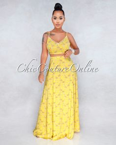 Oneida Yellow White Floral Print Two Piece Set Chic Couture Online, Summer Dress Outfits, Herve Leger, Clubwear, Stylish Outfits, Party Dress, Floral Prints, Gowns, Formal Dresses