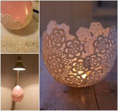 Creating this gorgeous doily votive holder is quite simple. it would be perfect for weddings, shabby chic home decor, or wherever you would like a nice vintage look.  Directions--> http://wonderfuldiy.com/wonderful-diy-gorgeous-doiley-candle-holder/