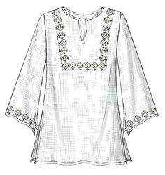 B4684 Straight, very loose-fitting top or tunic has neckline and sleeve variations, side slits and narrow hems. B, C, D, E, F: purchased trim. #butterick