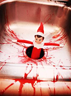 My Elf-on-the-shelf does a lot of drinking at night and winds up in the strangest places...