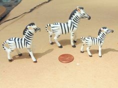 Miniature ZEBRA. Zebra FAMILY. Bone China Zebra. Zebra Figurine. 3 pc set. vintage 1960s. Bone China Animal. Zebra Figurines. gift idea by OurVintageHouse on Etsy