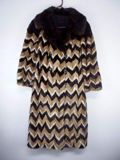 Vtg Max Mara Italy Designer Zigzag Real Fur Coat Light & Dark Brown & Cream #MaxMara #LongCoat