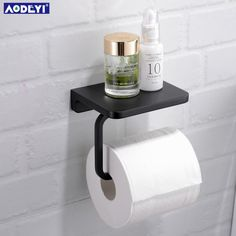 brass toilet paper holder on sale at reasonable prices, buy AODEYI Brass Toilet Paper Holder Tissue Hanger Bathroom Rolling Paper Holder Phone Shelf Matte Black Chrome Gold Wall Mount Hold from mobile site on Aliexpress Now! Toliet Paper Holder, Black Toilet Paper Holder, Bathroom Toilet Paper Holders, Toilet Roll Holder Phone, Toilet Roll Holder With Shelf, Shelves Above Toilet, Bathroom Shelves, Toilet Accessories, Downstairs Toilet