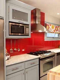 I Wouldnu0027t Choose Red.maybe A Nice Copper Color., But Backsplash Is Just  Tempered Glass Painted On The Backside. Appliances And Backsplash   Kitchen  Design ...