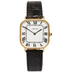 Foundwell Cartier 18K Soft Square Men'S Watch (9 800 AUD) ❤ liked on Polyvore featuring jewelry, watches, accessories, vintage wristwatches, 18k watches, gold jewelry, vintage jewelry and gold watches