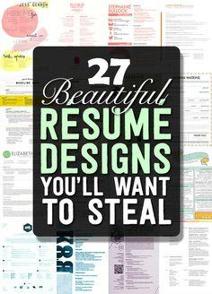27 DIY Resume Designs | http://www.iluvdiyideas.com/27-diy-resume-designs/