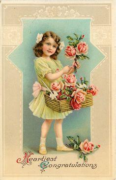 Victorian Lil Girl~Pink Rose Flower Vendor~Mint Green Ruffle Dress~Tan White~GEL picclick.com