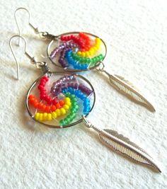 Dream Catcher Rainbow Earrings  Rainbow by NativeCraftCanada